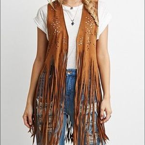 📦 SUEDE FRINGE LAZER CUT OUT VEST 📦
